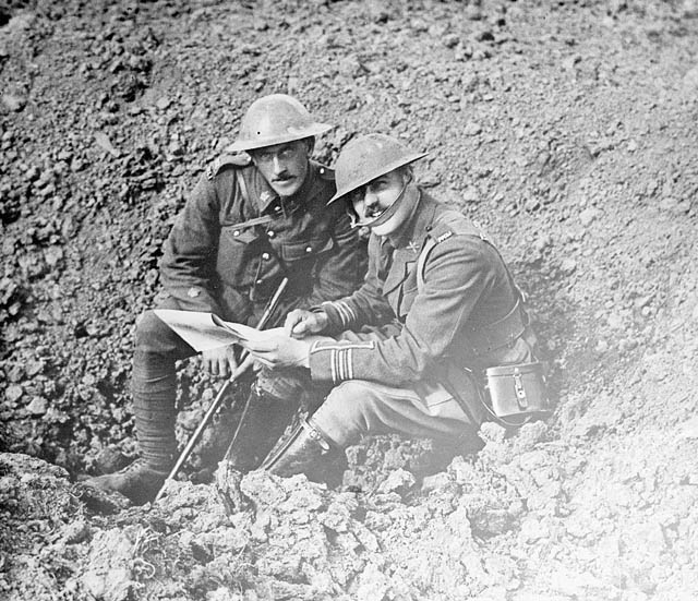 (W.W.I - 1914 - 1918) Two officers on the battlefield. October, 1916. (item 1)