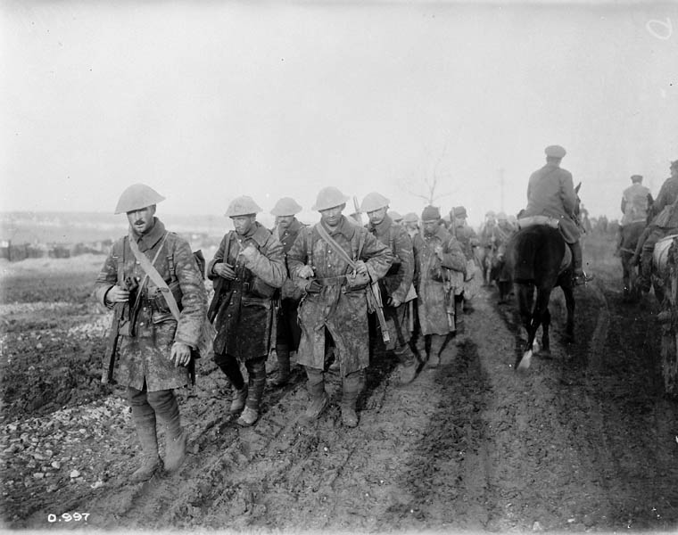 Canadian soldiers returning from trenches during the Battle of the Somme. (item 1)