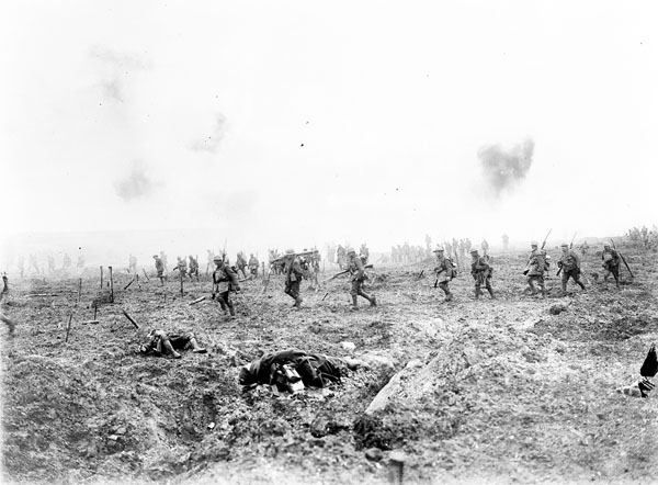 Soldiers crossing a battlefield