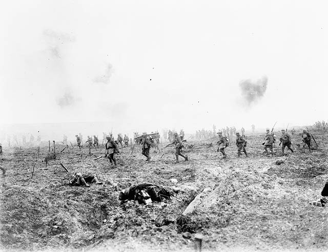 29th Infantry Batallion advancing over 'No man's Land' through the German  barbed wire and heavy fire during the Battle of Vimy Ridge. Image in the  Public Domian. Credit: Capt. H.E. Knobel/Canada. Dept. of National Defence/Library and Archives Canada/PA-001020