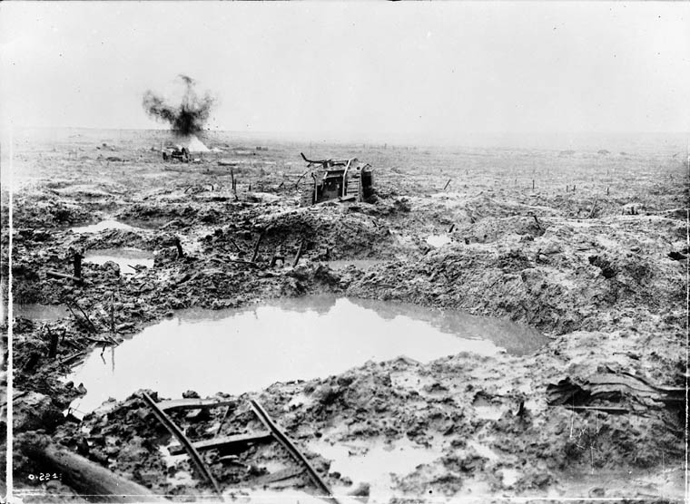 Tank in badly shelled mud area, Battle of Passchendaele. (item 1)