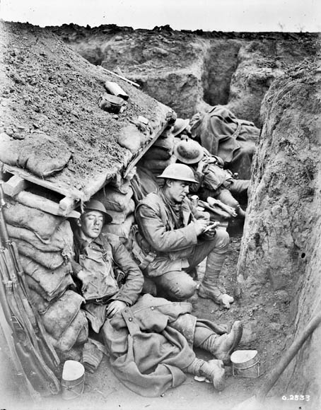 A Canadian sleeping in the front line. February, 1918. (item 1)