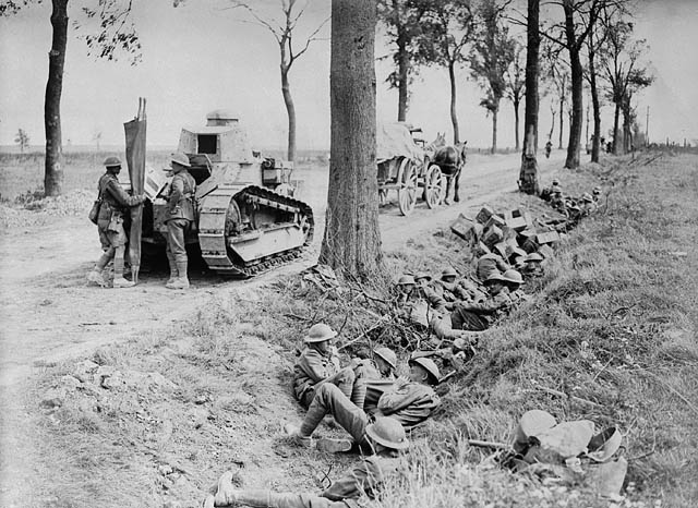 Canadian troops taking cover in a ditch alongside the road from Arras to Cambrai. (item 1)