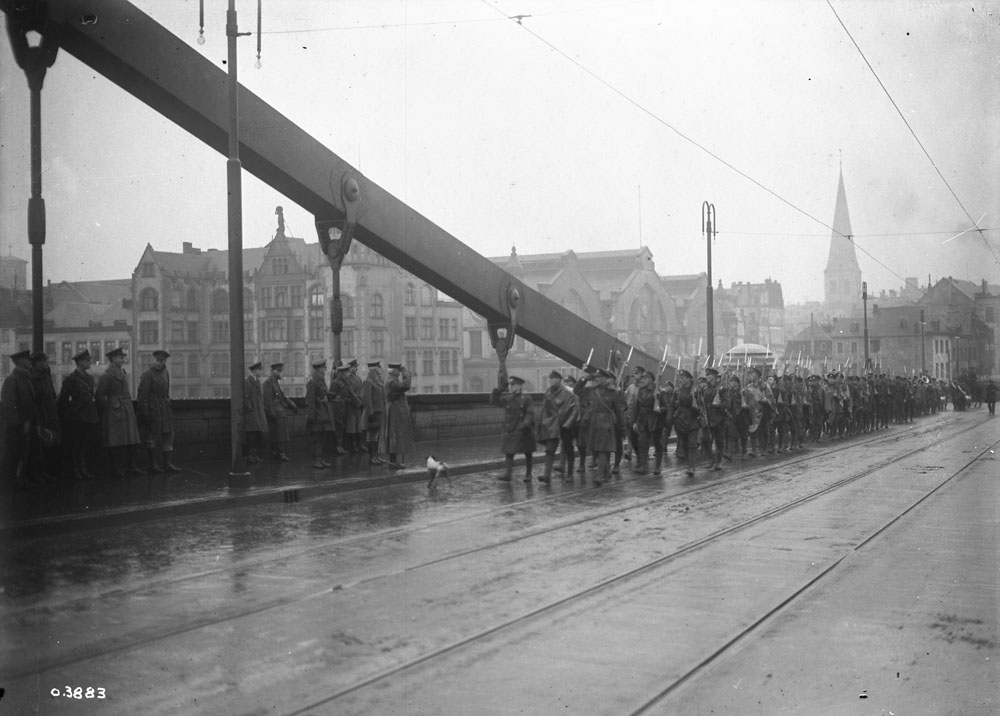 General Plumer takes the salute on the bridge at Cologne where the 1st Canadian Division crossed the Rhine River. December 13, 1918