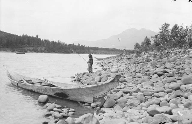 Gitxsan First Nation girl fishing in the Skeena River
