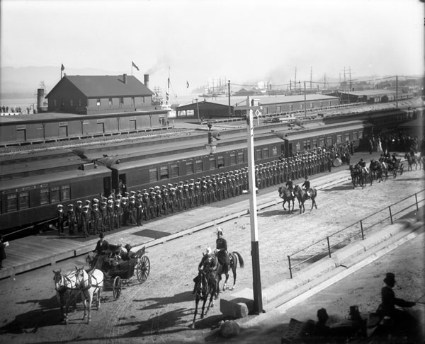 Procession leaving station - [Arrival of Royal Party]. (item 1)