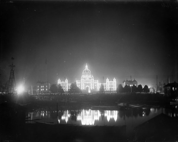 Parliament Buildings illuminated (winter view, from the harbour) (item 1)