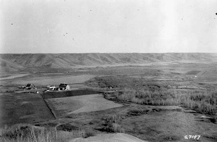 Cowesses Indian Residential School, distant view, Marieval, 1923