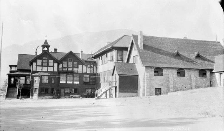 Anglican Mission Indian boarding school (before the construction of St. George's Indian Residential School), exterior view, Lytton, 1926