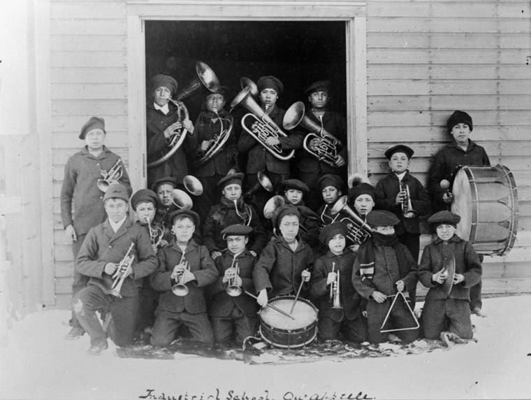 Fort Qu'Appelle Indian Residential School, boys' musical group, Lebret, date unknown