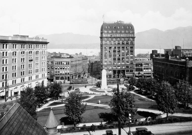 Victory Square in Vancouver, British Columbia, has trees, paths and the city's cenotaph at its centre
