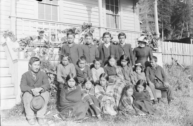 Anglican Alert Bay Mission School (before the construction of St. Michael's Indian Residential School), group of students, 1885