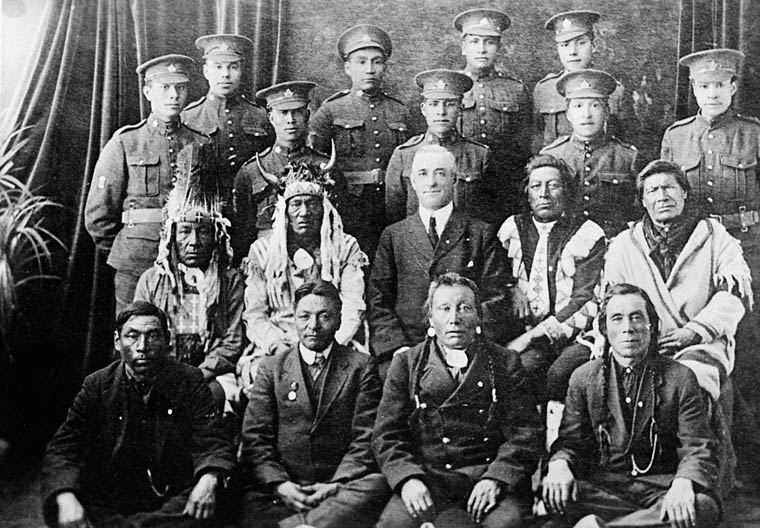 Elders and Indian soldiers in the uniform of the Canadian Expeditionary Force. (item 1)