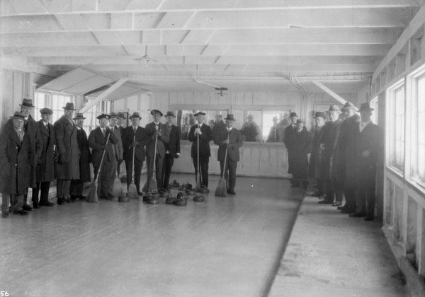 Curling match between Buckingham and the Thistles of Montreal, Rideau Hall, Ottawa, Ont. Mar. 2, 1927. (item 1)