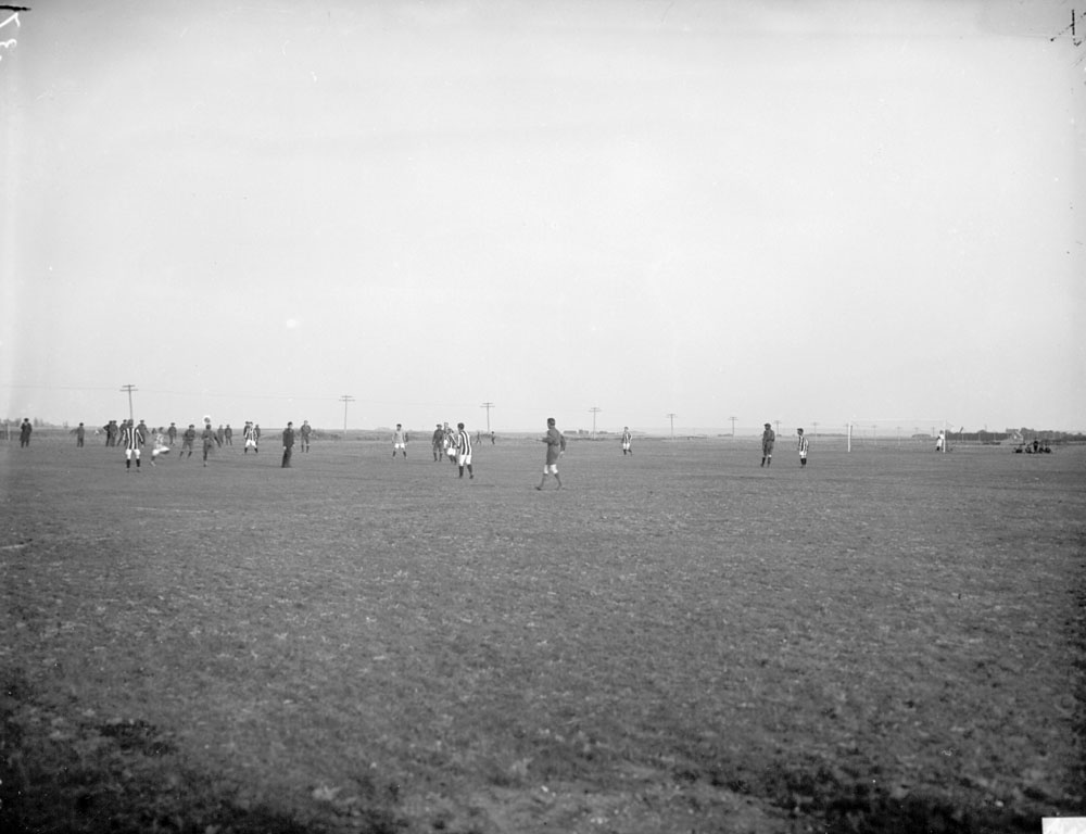 Brandon Indian Residential School, boys playing soccer, 1946