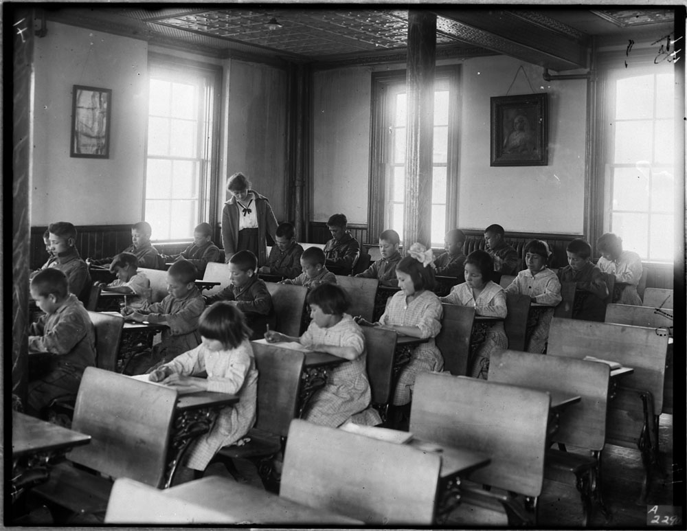 Brandon Indian Residential School, students at their desks in a classroom, 1946