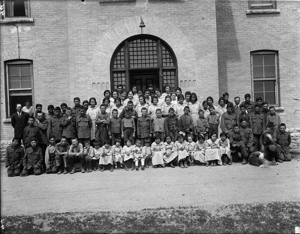 Brandon Indian Residential School, group of students, 1946