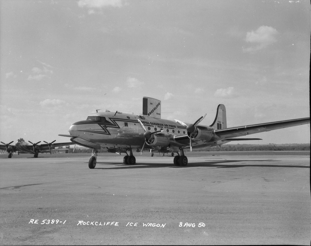 Photo of a Canadair North Star aircraft at the Rockcliffe Royal Canadian Air Force base, Ottawa, August 8, 1950.