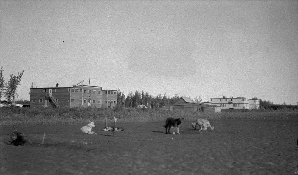 Aklavik Anglican Indian Residential School (All Saints Indian Residential School) and Anglican Mission Hospital, distant view with a group of dogs tethered in the foreground, 1937