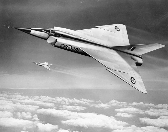 "An artists's drawing of a CF 105 AVRO ""Arrow"". (item 1)"