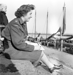 War artist Lieutenant Molly Lamb, Canadian Women's Army Corps, sketching at Volendam, Netherlands, September 1945