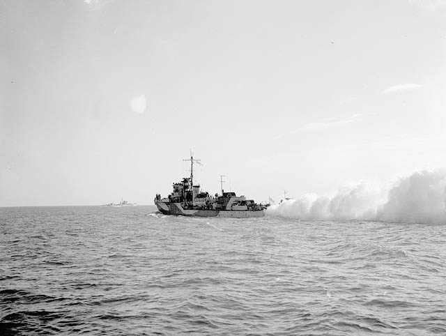 H.M.S. CALPE laying smoke screen off Dieppe. (item 1)