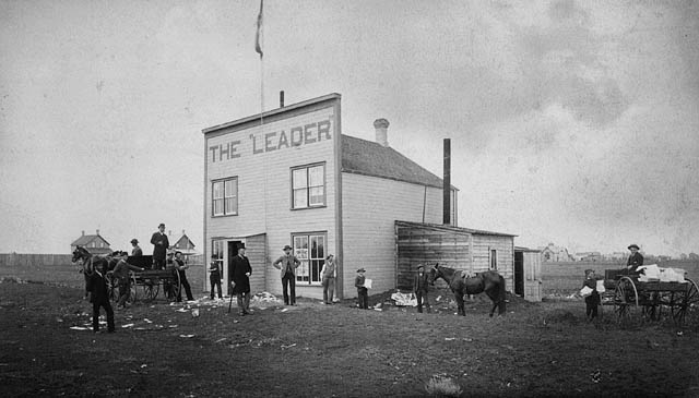The Leader, the first newspaper in the Territory of Assiniboia, founded by Nicholas Flood Davin in 1883. (item 1)
