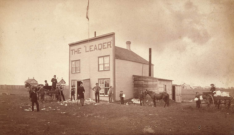 The Leader, the first newspaper in the Territory of Assiniboia, founded by Nicholas Flood Davin in 1883. (item 2)