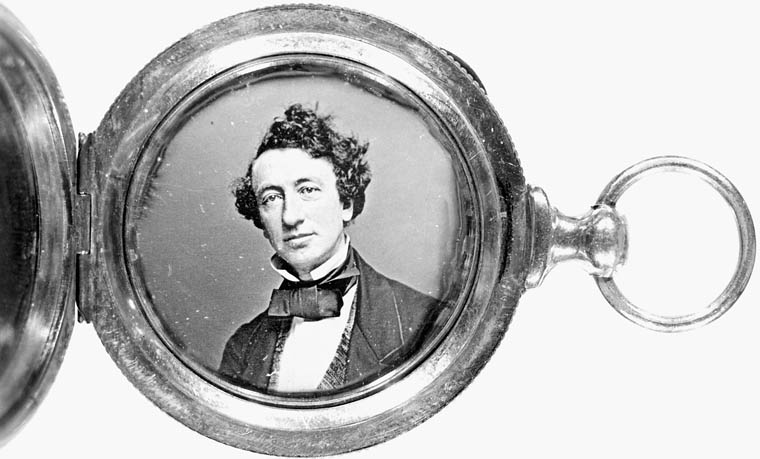 Daguerreotype of John A. MacDonald contained in a gold locket. (item 1)