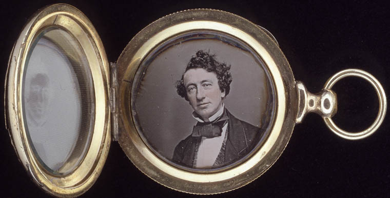 Daguerreotype of John A. MacDonald contained in a gold locket. (item 2)