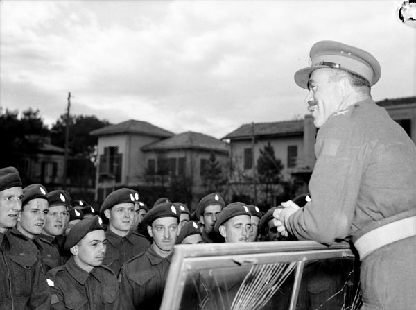 Major-General Chris Vokes, General Officer Commanding 1st Canadian Infantry Division, speaking to personnel of Princess Patricia's Canadian Light Infantry, Riccione, Italy, 13 November 1944