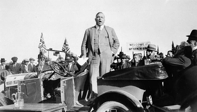 Rt. Hon. W.L. Mackenzie King speaking during the federal election campaign. (item 1)
