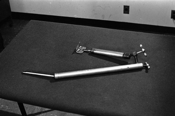 Scapula lifter and retractor instrument invented by Dr. Norman Bethune. (item 1)