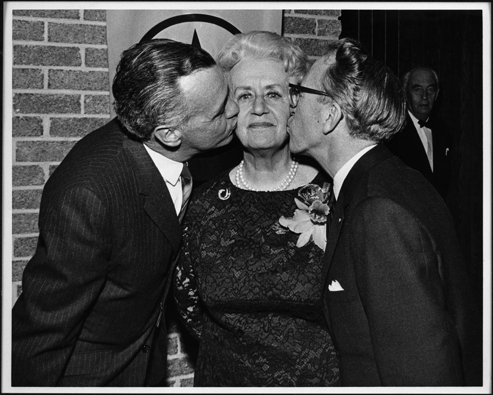 MIKAN 4169958 Marie-Thrse Casgrain with Tommy Douglas, leader of the Federal NDP, and Robert Cliche, leader of the NDP of Quebec, during a banquet