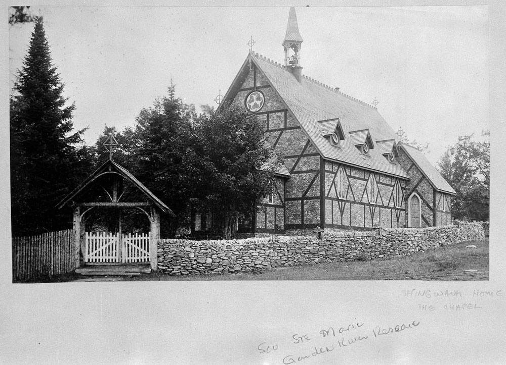 Shingwauk Indian Residential School, view of the chapel, Sault Ste. Marie, ca. 1885