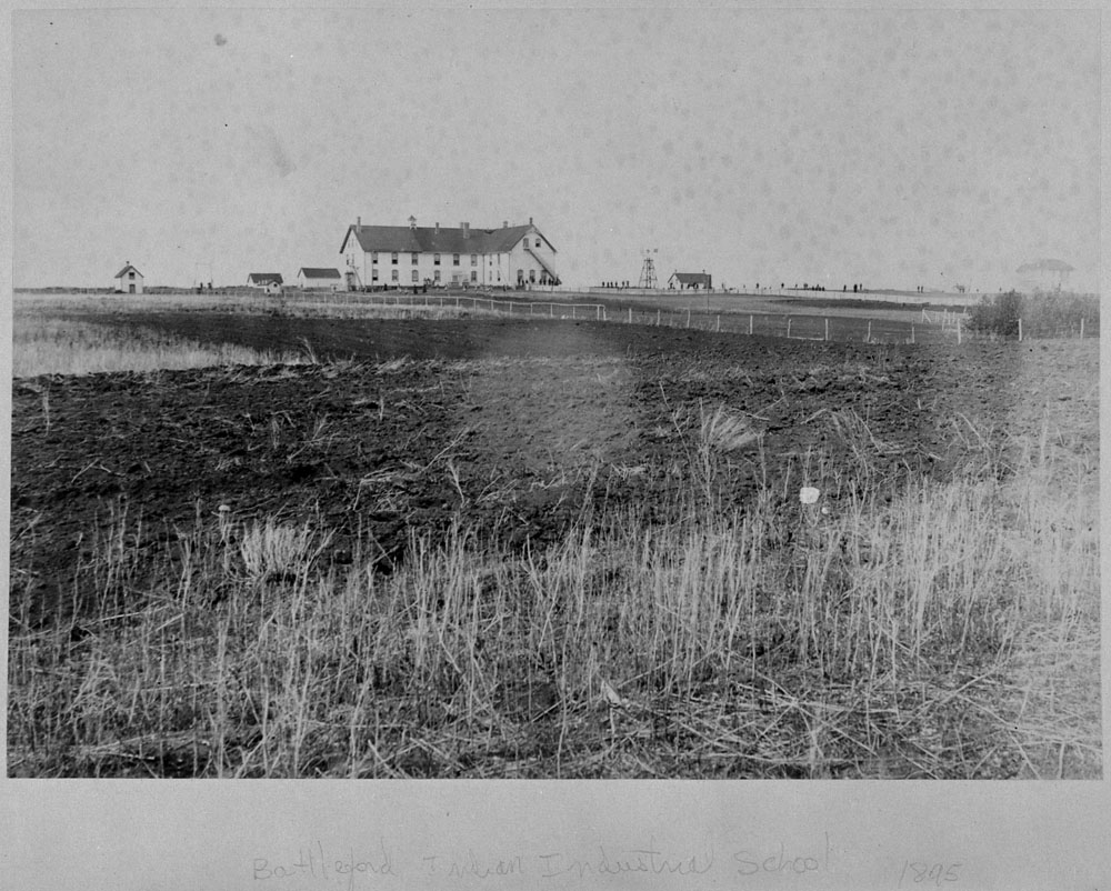 Battleford Indian Industrial School, distant view, 1895