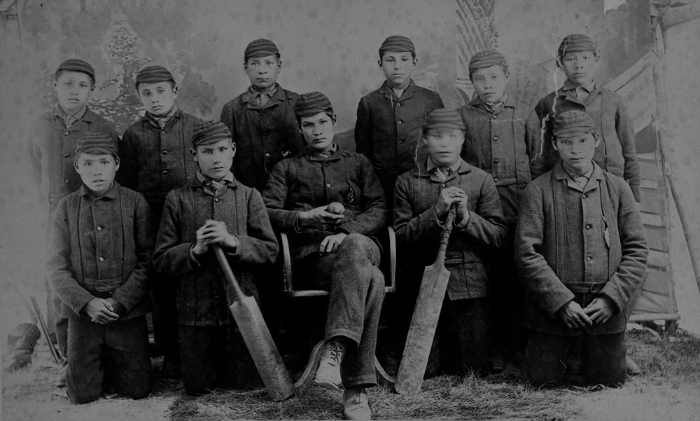 Battleford Indian Industrial School, the cricket team, ca. 1895
