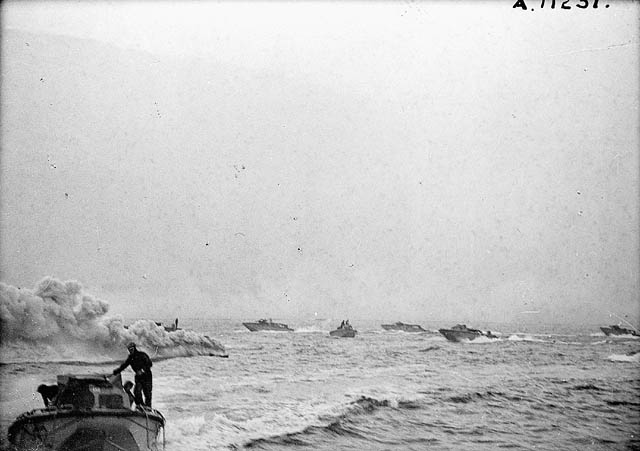 Landing craft taking part in Operation JUBILEE, the raid on Dieppe. (item 1)