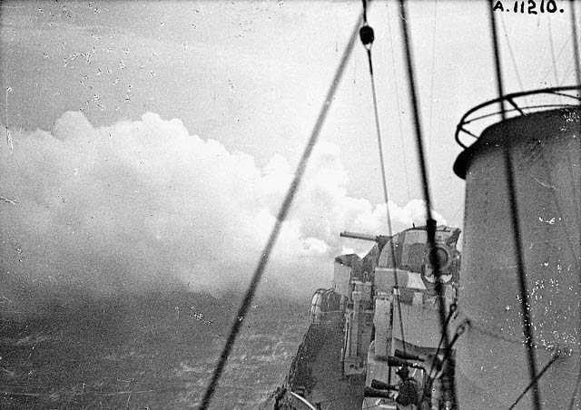 Unidentified [Hunt] - class destroyer of the Royal Navy bombarding Dieppe during Operation JUBILEE. (item 1)