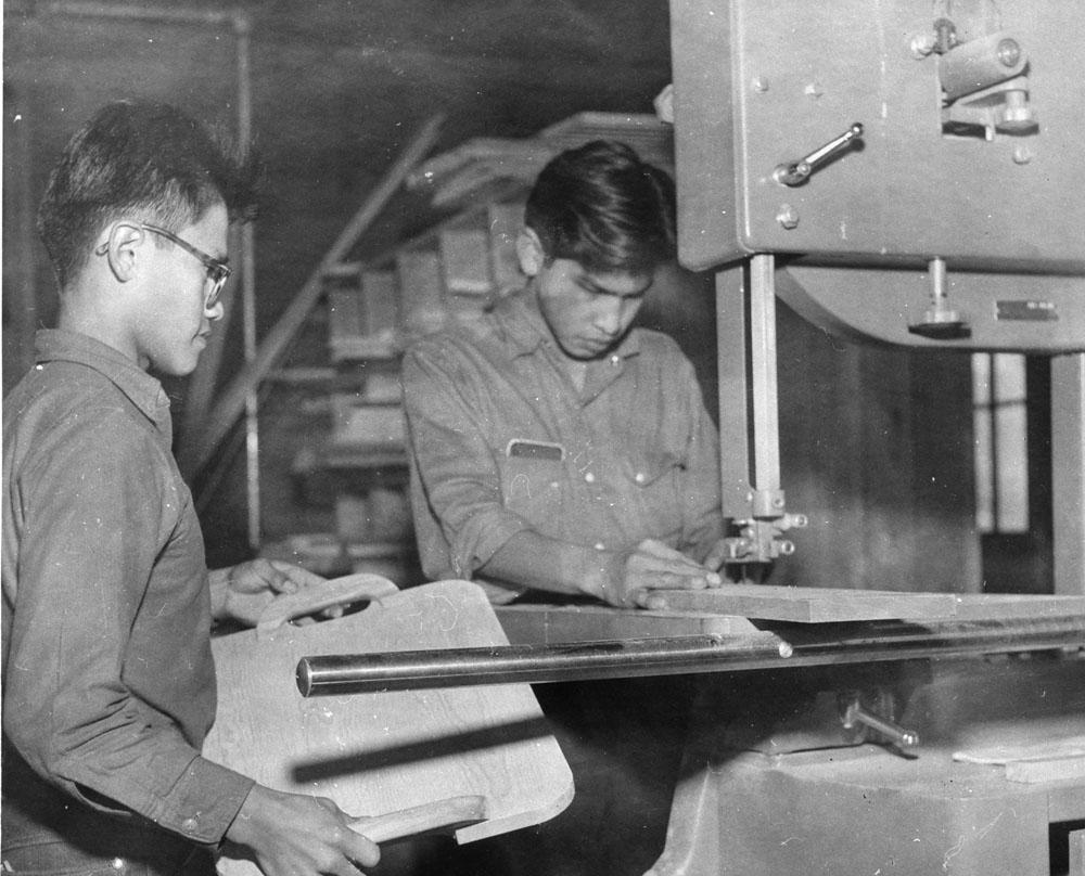 Kamloops Indian Residential School, boys in carpentry shop, 1958 or 1959