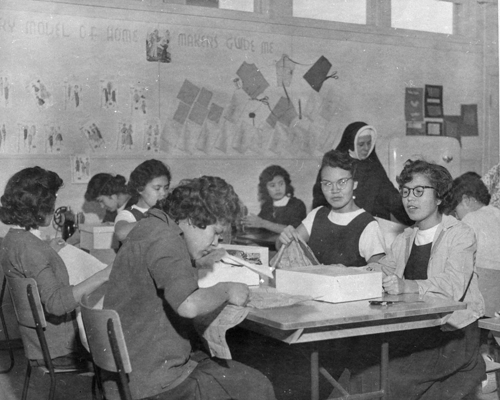 Kamloops Indian Residential School, sewing class, 1958 or 1959