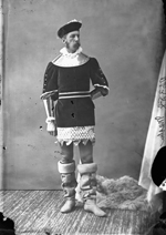 Studio photograph of Mr. Machin wearing a tunic, tights and high boots, Ottawa, March 1876