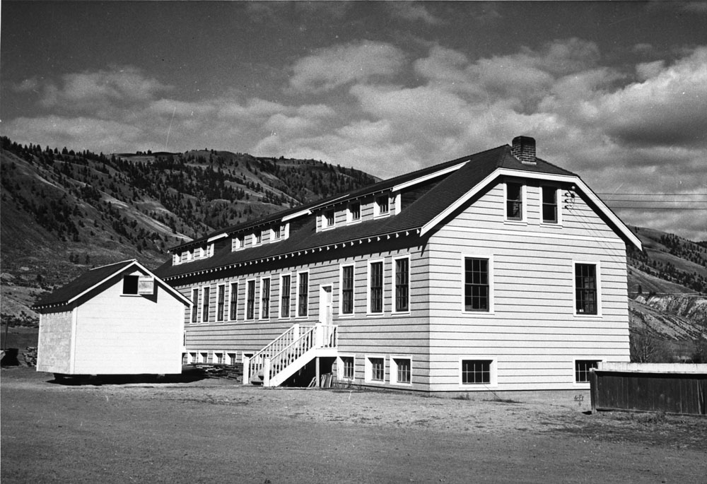 Kamloops Indian Residential School, exterior view of the new classroom building, ca. 1950