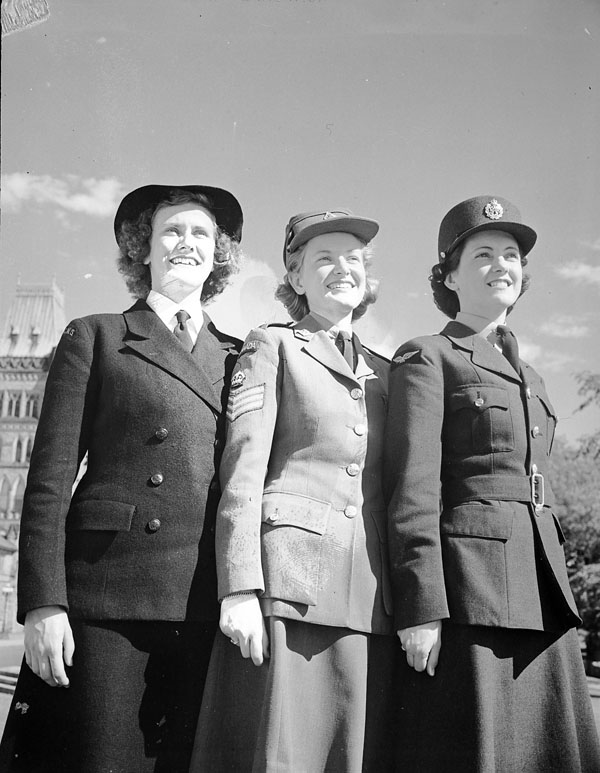 Members of the Women's Royal Canadian Naval Service (WRCNS), CWAC, and the Royal Canadian Air Force Women's Division (RCAF-WD) on Parliament Hill, Ottawa, Ontario