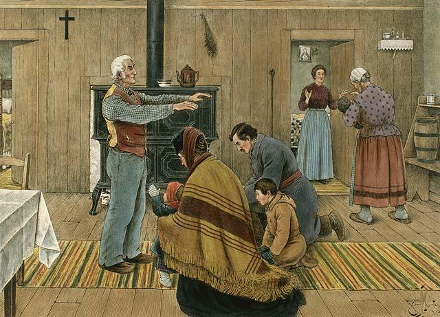 Edmond-Joseph Massicotte, «La bénédiction du Jour de l'an», 1912. (Bibliothèques et archives Canada/MIKAN 2895477)