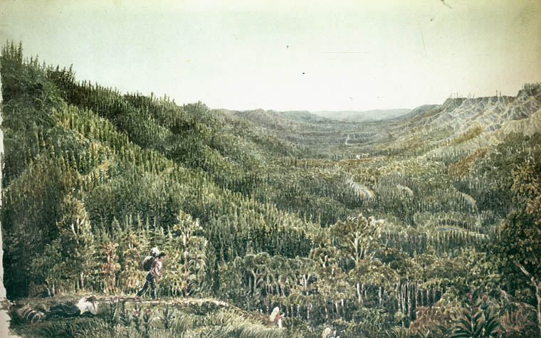 Watercolour painting depicting two men in the foreground walking down a hill with packs on their backs in a densely forested landscape. Forested hills continue in the background until the horizon, giving the impression that the men are on a long journey.