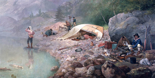 Colour oil on canvas of eight individuals, some sitting around a small campfire, others resting under a makeshift shelter or exploring the rocky shore along the banks of a body of water.