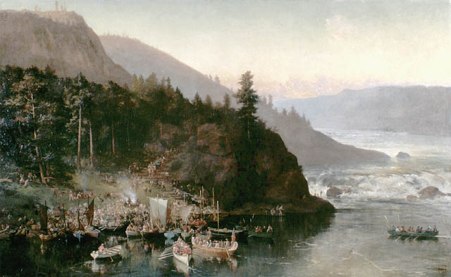 Image of a painting depicting an expedition on the Red River.