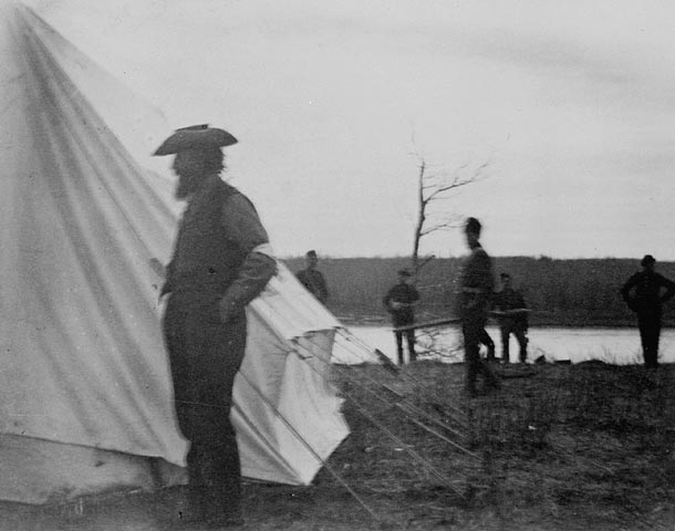 Louis Riel, a prisoner, in the camp of Major-General F.D. Middleton. (item 1)