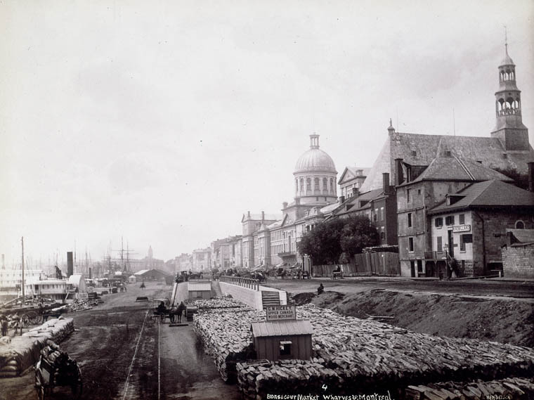 Bonsecours Market and wharves. Bonsecours Church on right side. (item 1)